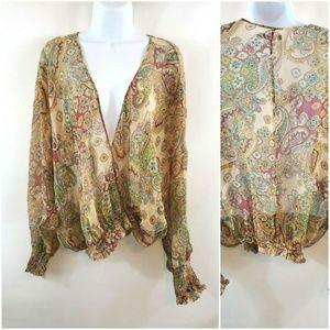 The Limited 100% Silk Boho Paisley Sheer Wrap Top